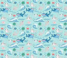Cute Shark and Friends Light Green fabric by koko_bun on Spoonflower - custom fabric My Design, Custom Design, Cute Shark, Green Fabric, Creative Business, Custom Fabric, Spoonflower, Fabric Design, Craft Projects