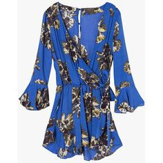 Flare Sleeved Loose Floral Romper ($69) ❤ liked on Polyvore featuring jumpsuits, rompers, floral bell sleeve romper, floral print romper, playsuit romper, blue floral romper and blue romper