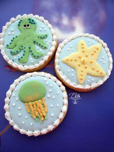 Cookies decorados tema Fundo do mar - Decorated Cookies Under the Sea
