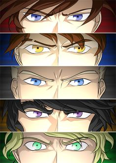 I would make Kai's eyes red/brown, Jay's a dark blue, Zane's a light blue, Cole's brown/black, and Lloyd's green wth golden flecks. :P
