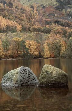 Peter Randall Page sculpture - Hundred Year Stone, 1995, Derwent Water Cumbria