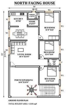 Duplex Floor Plans, Small House Floor Plans, Home Design Floor Plans, Home Plans, 2bhk House Plan, Model House Plan, House Layout Plans, House Layouts, 30x50 House Plans