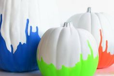 6 Pumpkins That Pop  //Colorful fall DIYs with a modern twist.