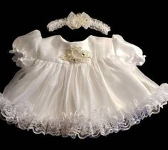 Beautiful Satin Chiffon and Lace Christening, Wedding Special Occasion Frilly Dress Set Lace Flower Girls, Lace Flowers, Flower Girl Dresses, Satin Tulle, Tulle Lace, Frilly Dresses, Girls Dresses, Lace Headbands, Special Occasion Dresses