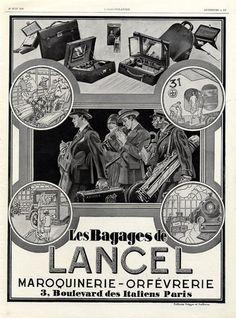 Lancel (Luggage) 1928 Aviona Good Advertisements, Advertising, Ads, Magazine Mode, Vintage Luggage, Travel Bags, Illustration, Gazette, Collection