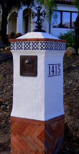 Spanish Colonial Revival mailbox conceptualized, designed and executed by the amazing Jeff Doubet, Santa Barbara, California - U.S.A.