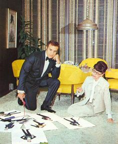 Edith Head and Ricardo Montalban discussing  costume designs for Sweet Charity (1969)
