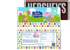 Peppa Pig Birthday Candy Bar Wrappers Party Favors