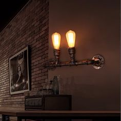 52.77$  Buy here - http://aliiq3.worldwells.pw/go.php?t=32695040755 - Vintage Industrial Rustic Wrought Iron Water Pipe Wall Sconces Flush Moun Art Retro Deco Lamp Bed Room Office Bar Pub Lighting 52.77$