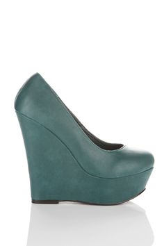 High Wedge Faux Leather Shoes
