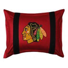 Chicago Blackhawks NHL Sidelines Pillow Sham/Cover/Case