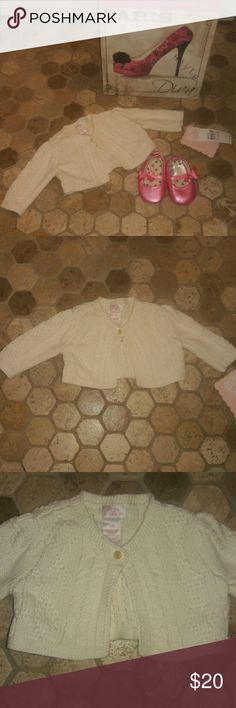 CHAPS Stunning Baby Sweater 3M Cream/ Off White beautifully designed and detailed baby sweater..would look adorable over almost any outfit...perfect for over your little one's Easter Dress Chaps Shirts & Tops Sweaters