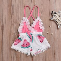 Girls' Clothing (Sizes 4 & Up) Newborn Toddler Baby Girl Romper Lace Jumpsuit Outfit Watermelon Summer Clothes Baby Bikini, Kids Girls, Baby Kids, Cute Babies, Baby Boy, Baby Girl Gear, Big Boys, Toddler Girls, Baby Girl Fashion