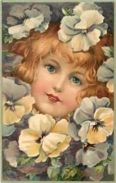 Girl's face surrounded by light purple pansies ~ 1912