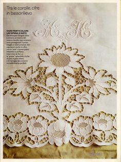 Gallery.ru / Фото #17 - Rakam 1_2002 - ricamieleonora Cutwork Embroidery, Hand Embroidery Patterns, Machine Embroidery, Cut Work, Antique Lace, Needlework, Vintage World Maps, Monogram, Couture