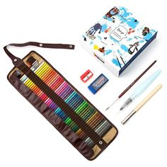 Amazon.com: 48 Piece Artist Grade High Quality Watercolor Water Soluble Colored Pencil Set with Free Pencil Holder, sharpener, Eraser & Blending Brush.