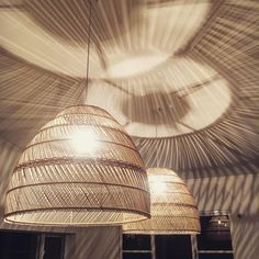 Rattan Lighting For Spring: Part 1 - Chloe Dominik Bedroom Lamps, Bedroom Lighting, Interior Lighting, Bamboo Light, Bamboo Lamp, Basket Lighting, Cool Lighting, Bedroom Light Shades, Pendant Light Fixtures