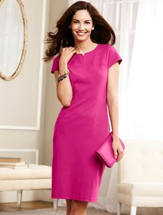 Talbots - Ponte Knit Notched Jewel-Neck Sheath | Petites | Petites
