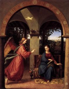 Annunciation (1818). Julius Schnorr von Carolsfeld (German, 1794-1872). Oil on canvas. Nationalgalerie, Berlin. This painting is one of a series of Marian subjects ordered from the Nazarenes by the canon of Dresden's cathedral. Its Roman execution is attested to by St. Peter's dome, rising in the background. Stiff, precise, with a loving re-creation of Albertian perspective, this archaising Annunciation merges Northern European and Italian 15th-century motifs in an ingratiating pastiche.