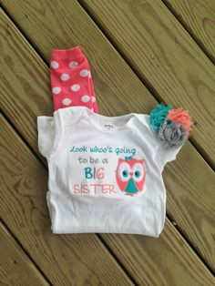 Big sister owl shirt  sibling shirt  pregnancy by CEBowtique, $27.00