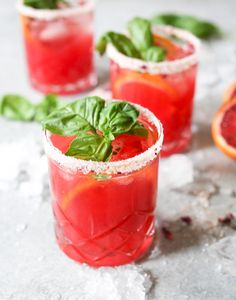 Skinny Blood Orange-Basil Margarita. Sweet-tart with a refreshing herbal twist, this seasonal cocktail is guaranteed to chase away the winter blues. via www.domesticate-me.com