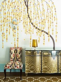 Top 17 House Wall Painting Examples   MostBeautifulThings Home Wall Painting, Wall Paintings, Console Table Styling, Console Tables, House Wall, Upholstered Chairs, Contemporary Interior, Modern Luxury, Wall Design