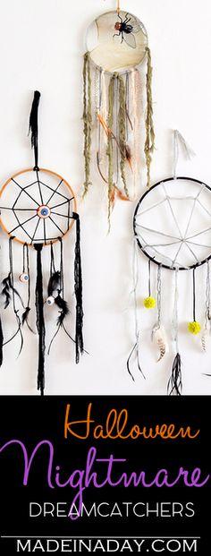 DIY Creepy Halloween Dreamcatchers, learn to make this cute Halloween decor, Spider web, creepy fabric, feathers, nightmare catcher, halloween decor, easy crafts via @madeinaday
