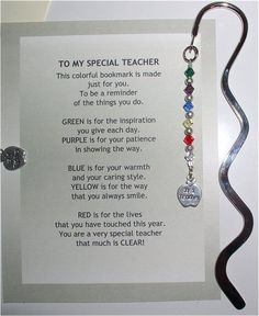 special teacher bookmark...oh em gee, i'm TOTALLY making this for teacher appreciation day/week!!! =) Poems For Teachers Appreciation, Employee Appreciation, Teacher Poems, Teacher Cards, Teacher Treats, Your Teacher, School Teacher, Thank You Poems For Teachers, Teacher Devotions