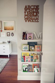 Add these shelves in kensleys room to get her books out of the basket on floor. A Beautiful Nursery for a Baby Girl That Defies All Stereotype