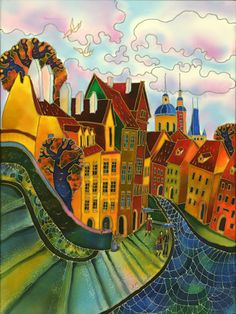 Pink Clouds. Prague by Yelena Sidorova, 20″x24″, LTP1203, Commissioned Painting