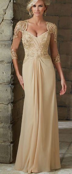 3/4 Length Sleeve Chiffon and Lace Long Mother of The Bride Dresses Formal Evening Dresses