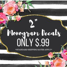 "2"" Monogram Decal 