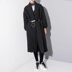 2016 Winter Women's New Streetwear Oversized Long Casual Trench Coat in Black