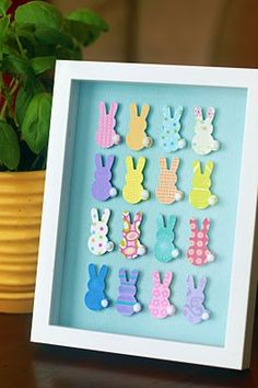 Bunny Art #Easter Fun! Cut out the bunnies and grab the glue gun!