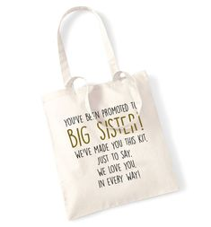 Big sister survival kit tote bag promoted we love you in every way poem newborn sibling brother cute family daughter son mum dad parent 278