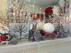 my winter mantel should take me into March....less the cute holiday mice!