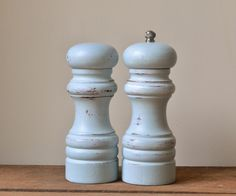 Rustic Shabby Chic Pastel Blue Salt And Pepper Mills Raw Shabby Chic Christmas Tree