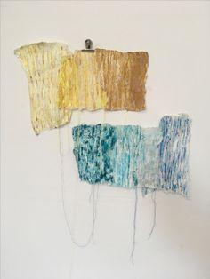 """Processing Repair"" Megan Morris  (Handmade Paper applying Acrylic Paint and Stitchwork)"