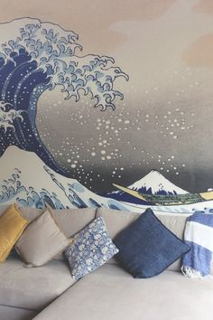 In love with this soothing colour palette, showcasing neutral greys mixed with deep indigo blues. It perfectly matches the colours of Hokusai's Great Wave off Kanagawa.#wallpaper #murals #wallmurals #interior #interiordesign #design #home #homedecor #interiordecor #accentwall #inspiration #Ihavethisthingswithwalls