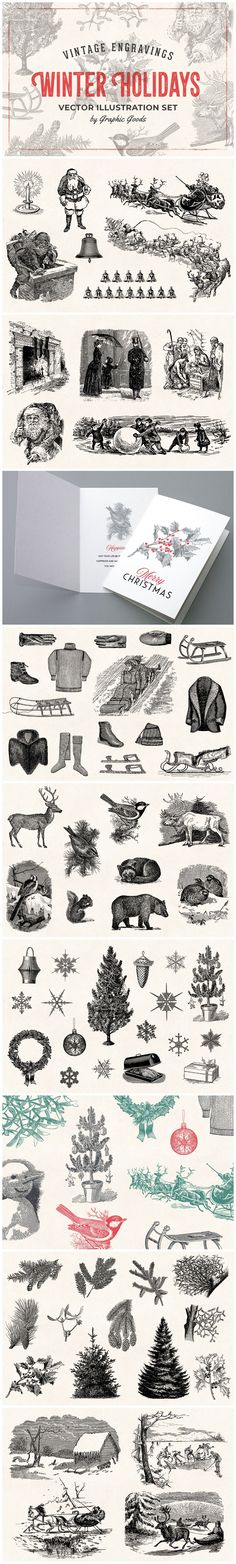 Winter Holidays - Vintage Engraving-style Illustrations by Graphic Goods Engraving Illustration, Graphic Illustration, Illustrations, Winter Holidays, Christmas Holidays, Christmas Ornaments, Retro Logos, Christmas Illustration, Winter Scenes