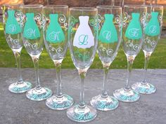 Bridesmaid champagne glasses, 7 Personalized dress ...