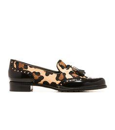 colorblock turtleneck, leopard loafers, fur collar coatThe Classy Cubicle