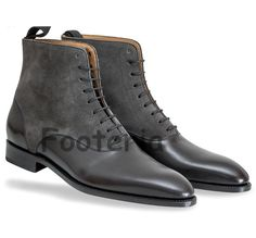 Handmade men two tone boots, black and gray boot, leather boots for men, suede