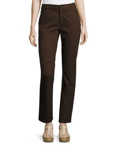 Lafayette 148 New York Slim-Fit Jacquard Denim Pants, Espresso (Brown)