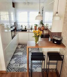 Home Decor - Beautiful Decoration Design Ideas For Small Kitchen Kitchen Room Design, Cute Kitchen, Home Decor Kitchen, Interior Design Kitchen, Home Kitchens, Kitchen Designs, Kitchen Small, Small Open Kitchens, Kitchen Ideas