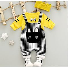 Cheap baby set, Buy Quality baby set boy directly from China overall set Suppliers: WYNNE GADIS Baby's Sets Boys Gentlman Bow Sweatshirt Hoodies + Striped Cat Overalls Trousers Children Kids Clothes Suits Baby Set, Kids Dress Up, Baby Dress, Baby Outfits Newborn, Baby Boy Outfits, Pants Outfit, Outfit Sets, Suspender Pants, Kids Suits