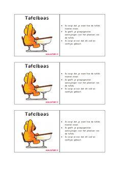 via juf inger kaartjes voor cooperatief leren de verschillende rollen, materiaalbaas, schrijver, etc