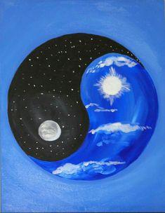 By Artist Unknown. Arte Yin Yang, Ying Y Yang, Yin Yang Art, Yin And Yang, Easy Canvas Painting, Canvas Art, Ying Yang Symbol, Yin Yang Designs, Yin Yang Tattoos