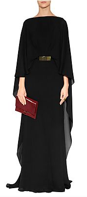 ELIE SAAB Black Belted Silk Georgette Caplet Gown