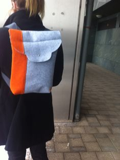 Orange and grey handmade backpack by ManaUk on Etsy Handmade Bags, Fashion Backpack, Backpacks, Orange, Trending Outfits, Grey, Unique Jewelry, Vintage, Gray